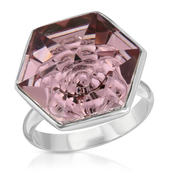 Smokey Mauve Swarovski Hexagon Ring (18 mm) - The W Brothers