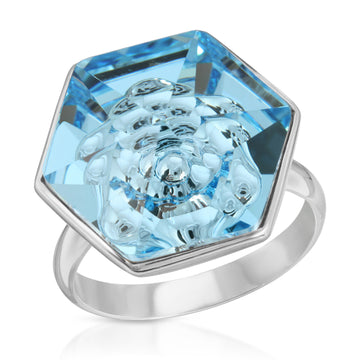 The W Brothers Hexagon Light Blue Aquamarine Swarovski Pendant Necklace and Ring in Silver for girls, women, men , and male.