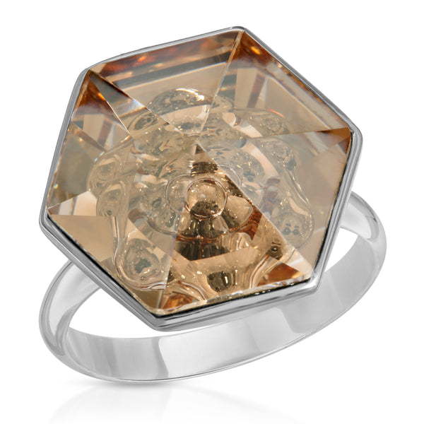 Peach Hexagon Swarovski Ring (18 mm) - The W Brothers