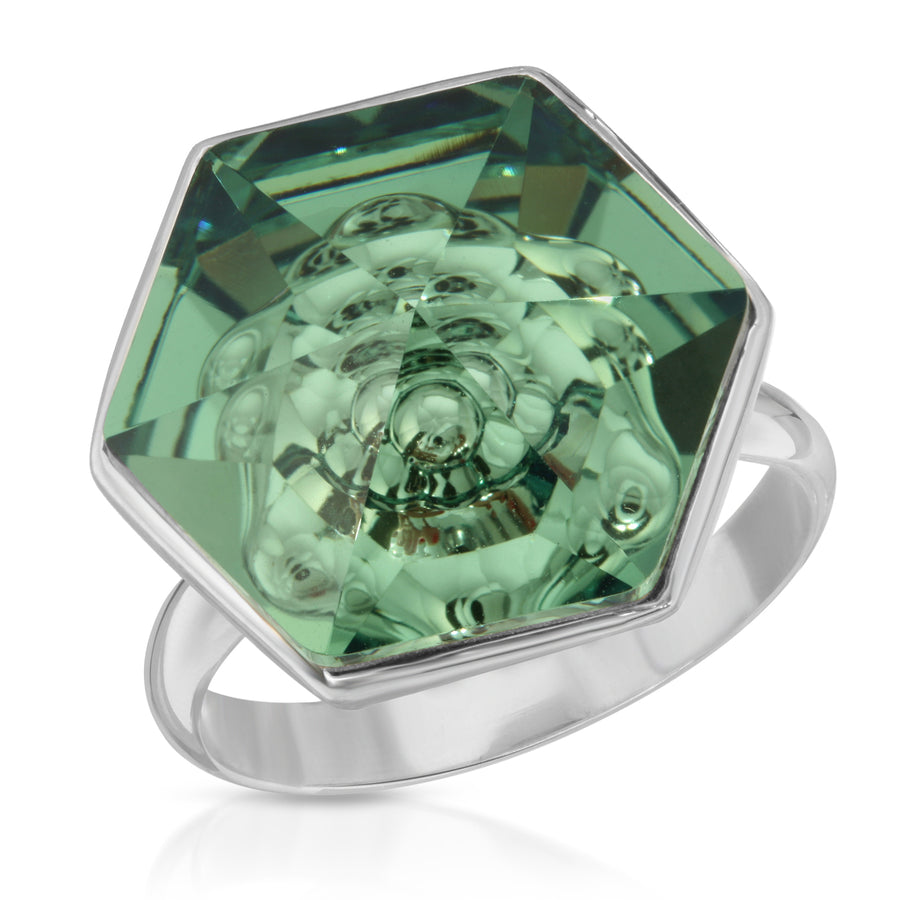 The W Brothers 18 mm Hexagon Swarovski crystal Green Erenite Ring for women and men in Silver.