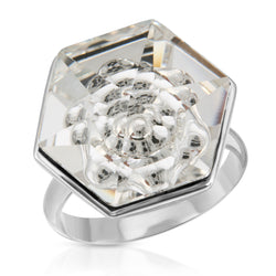 White Swarovski Hexagon Ring (18 mm) - The W Brothers