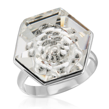 The W Brothers 18 mm White diamond Swarovski Crystal Ring and Necklace for Men and Women.