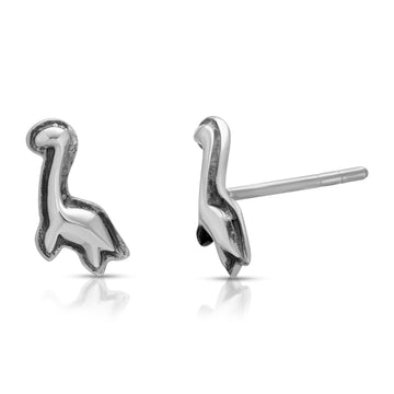 The W Brothers Diplodocus Stud Earrings from our Dinosaur Collection, crafted from Premium A Grade Sterling Silver, perfect for women's fashion.