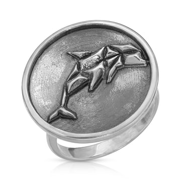 The W Brothers 925 Sterling Silver Geometric Dolphin Ring