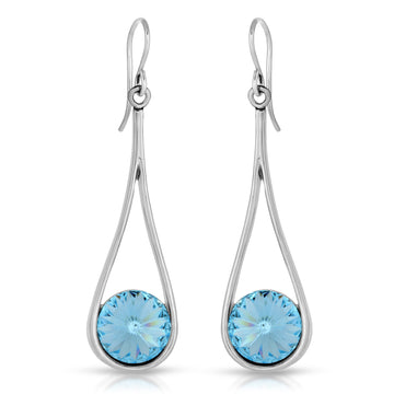 The W Brothers Aquamarine Teardrop Earrings set with Aquamarine Swarovski Crystals, crafted with premium A Grade 925 Sterling silver. This look is designed to give a fashionable look with elegance and style.