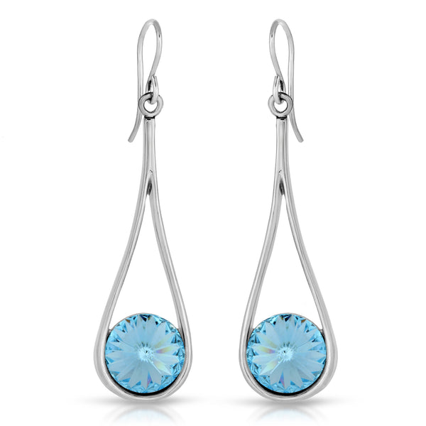 The W Brothers Premium Grade A 925 Sterling Silver Aquamarine Droplet Earrings, set with a rounded tri-toned Aquamarine Swarovskicrystal. Perfect for a fashionable statement for men and women's jewelry accessory. Available at www.thewbros.com