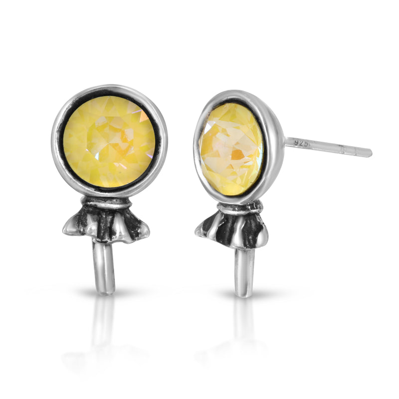 The W Brothers Premium Grade A 925 Sterling Silver Jonquil Lollipop Earrings. Our Lollipop Earrings are individually set with hand-selected tri-toned Swarovski crystals on premium Grade A Silver. Available at www.thewbros.com