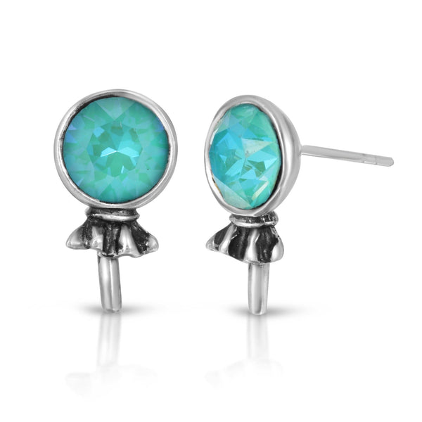 The W Brothers Premium Grade A 925 Sterling Silver Blue Zircon Lollipop Earrings. Our Lollipop Earrings are individually set with hand-selected tri-toned Swarovski crystals on premium Grade A Silver. Available at www.thewbros.com