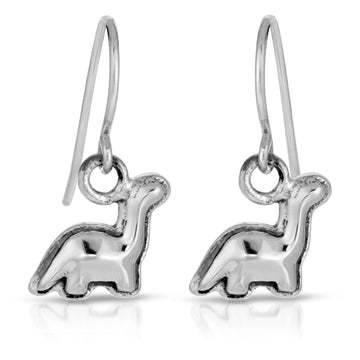 The W Brothers Dinosaur Collection, featuring cute Brachiosaurus Earrings crafted from premium grade A 925 Sterling silver, perfect for a female or women's earrings accessory.