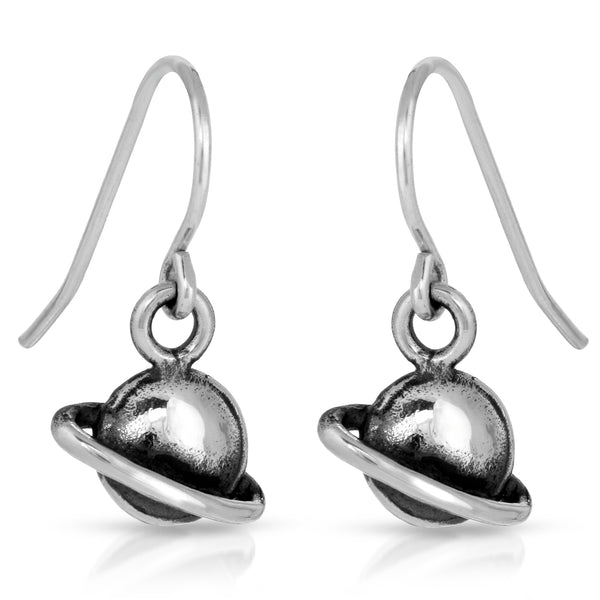The W Brothers Area 51 Collection -Planet Dangle Earrings crafted from premium Grade A 925 Sterling silver. Designed for a fashionable and stylish look for men and women, available at www.thewbros.com Saturn planet earrings NASA Area 51 eaarings