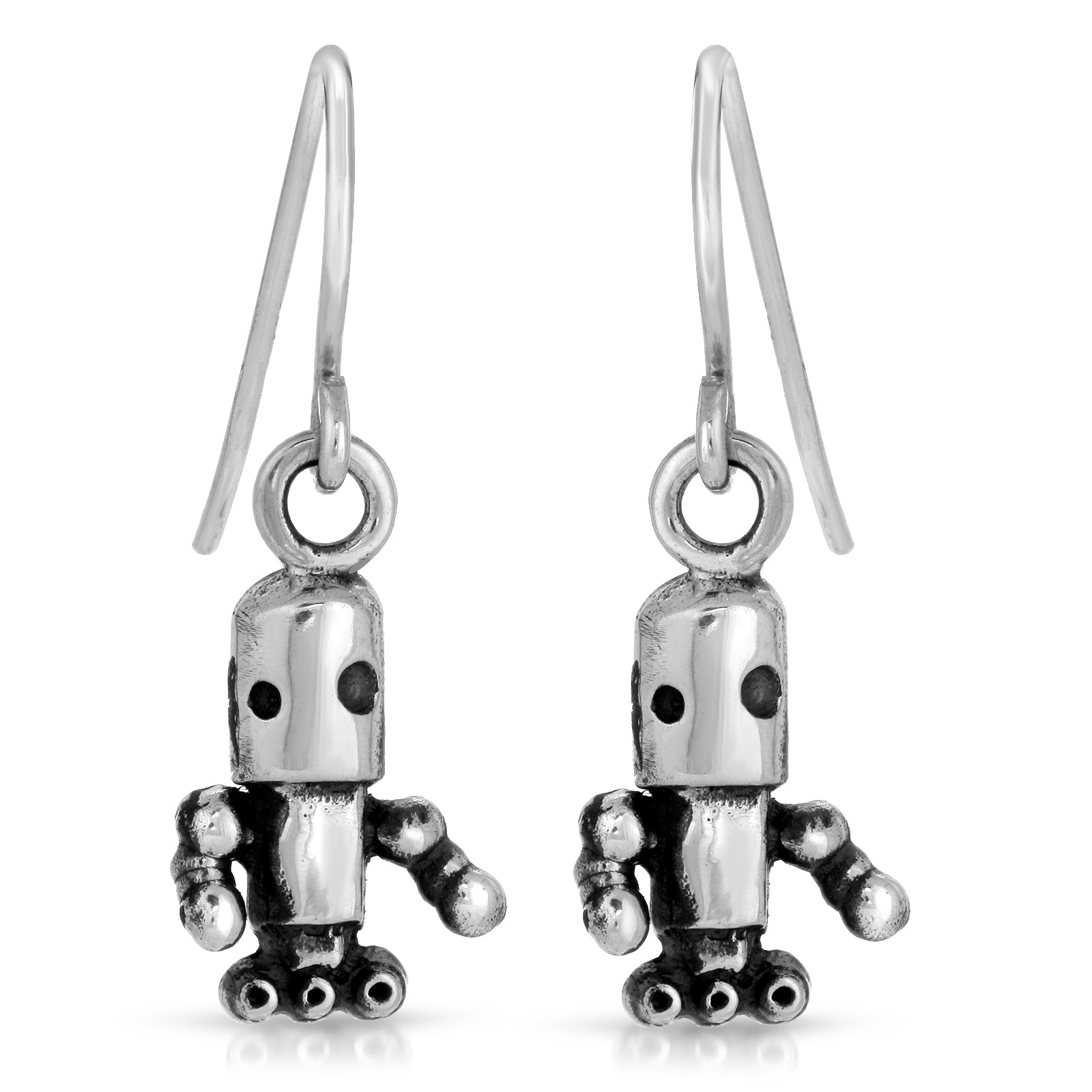 The W Brothers Area 51 earrings, robot earrings, Area 51 Collection premium Grade A silver Astro Bot Dangle Hoop Earrings crafted with the highest purity. Perfect fashion accessory for men and women, shop at www.thewbros.com