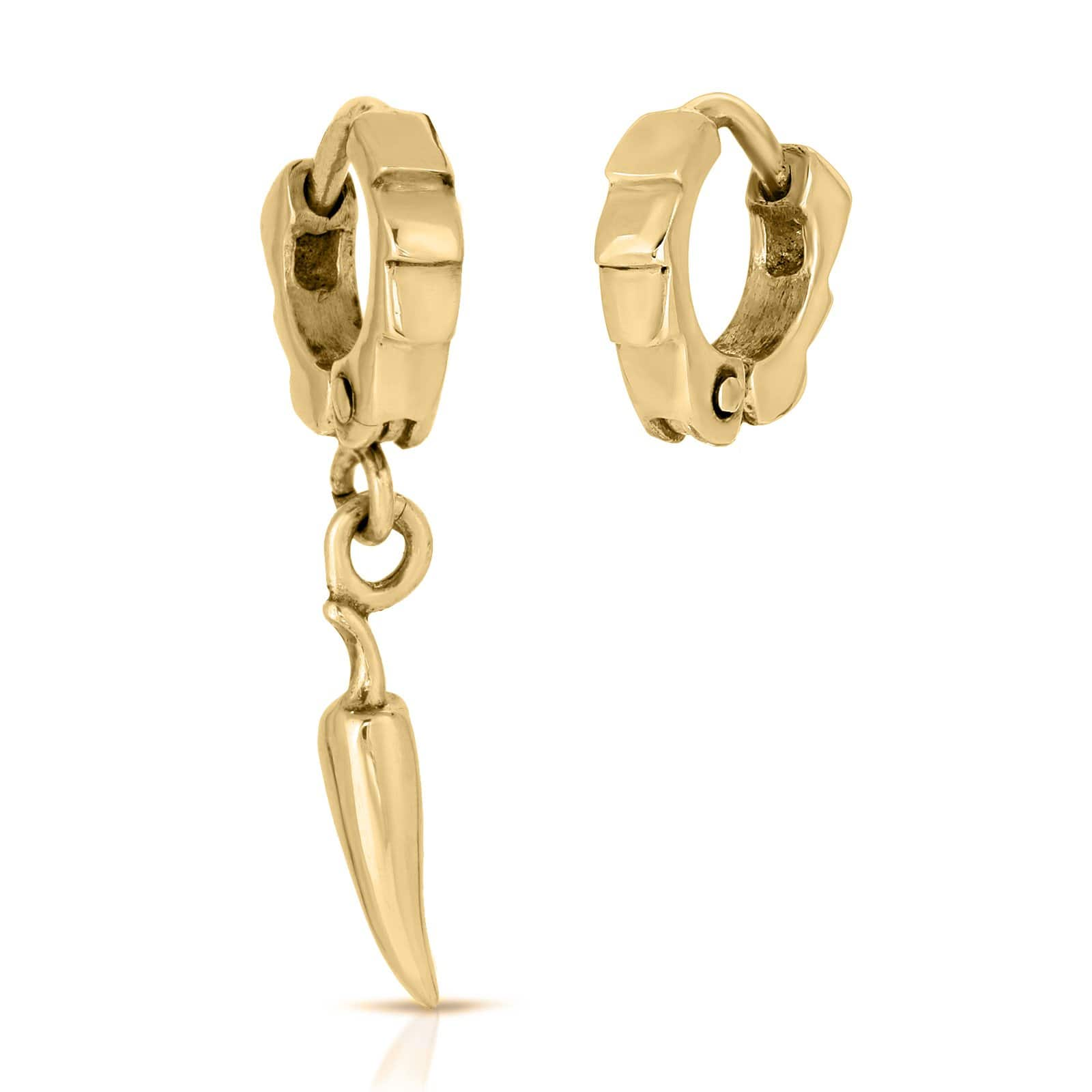 The W Brothers Premium Grade A 925 Sterling Silver Asymmetrical Chili Pepper Earrings, perfect for a fashionable statement for men and women's jewelry accessory. Available in silver, gold, rose gold, black nickel at www.thewbros.com