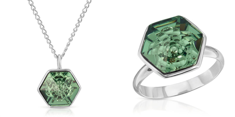 The W Brothers 14 mm Hexagon Erenite Green Swarovski Pendant Necklace and ring in Silver for girls, women, men , and male. Bundle Package set deal at www.thewbros.com