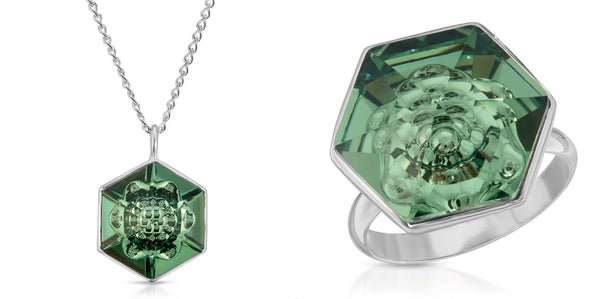 The W Brothers 18 mm Hexagon Erenite Green Swarovski Pendant Necklace and ring in Silver for girls, women, men , and male. Elegant complete look in a bundle set package for a great deal only at www.thewbros.com