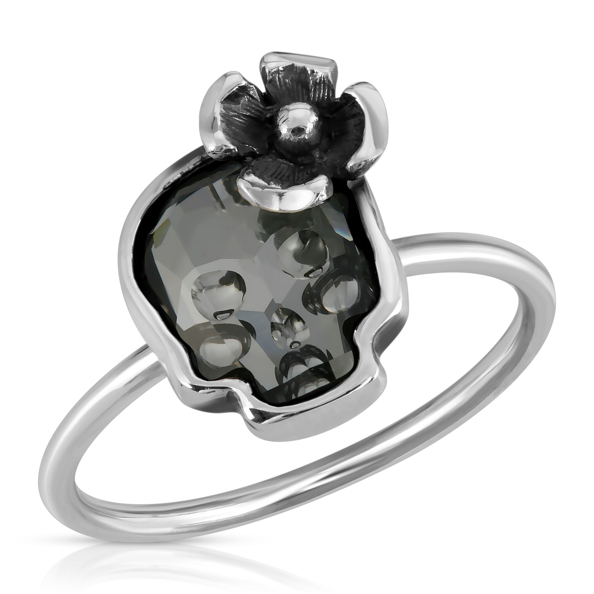 The W Brothers Swarovski Skull Crystal Ring crafted from premium Grade A 925 Sterling Silver. Perfect for men and women female fashion accessory ring. Designed for halloween skull jewelry.