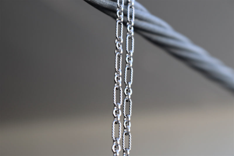 The W Brothers barbed figaro chain sterling silver barbed oxidized pure A Grade 925 sterling silver figaro chain thewbros metal silver jewelry chains everlasting quality silver purity