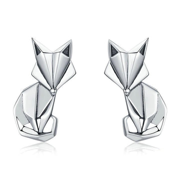 925 sterling silver geometric fox earrings, The W Brothers folded animal fox cute female women earrings jewelry