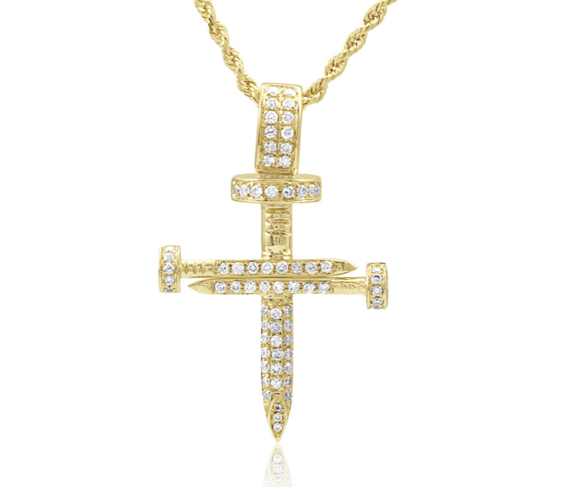 The W Brothers Custom Solid 18K Yellow Gold Diamond Nail Cross Pendant Necklace with VS-SI Diamonds all around iced out hip hop jewelry fashion accessory. Solid Gold Nail Cross available in solid yellow gold, solid white gold, solid rose gold, shop your gold jewelry options only at TheWBros.com