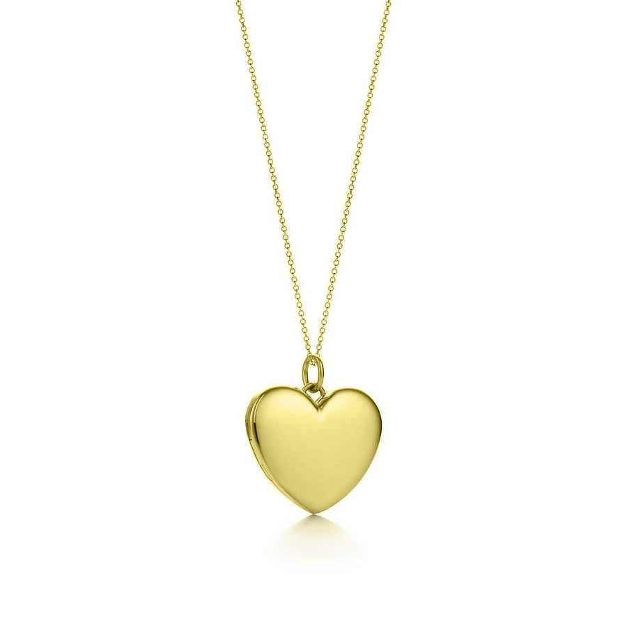 Gold heart custom engraving necklace pendant, customized heart locket with engraving in 14k gold, sterling silver, rose gold by The W Brothers