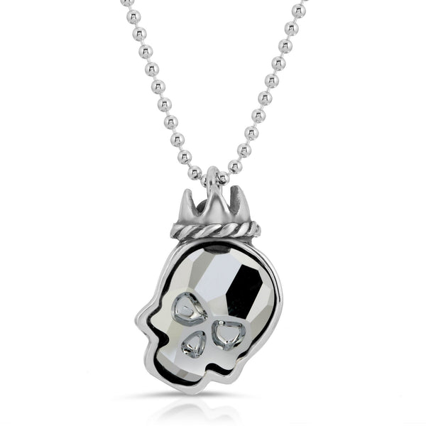 The W brothers Swarovski Skull Necklace in silver night with a gorgeous silver crown crafted from premium Grade A Sterling Silver. Perfect jewelry accessory necklace for fashionable statement women. Available at www.thewbros.com