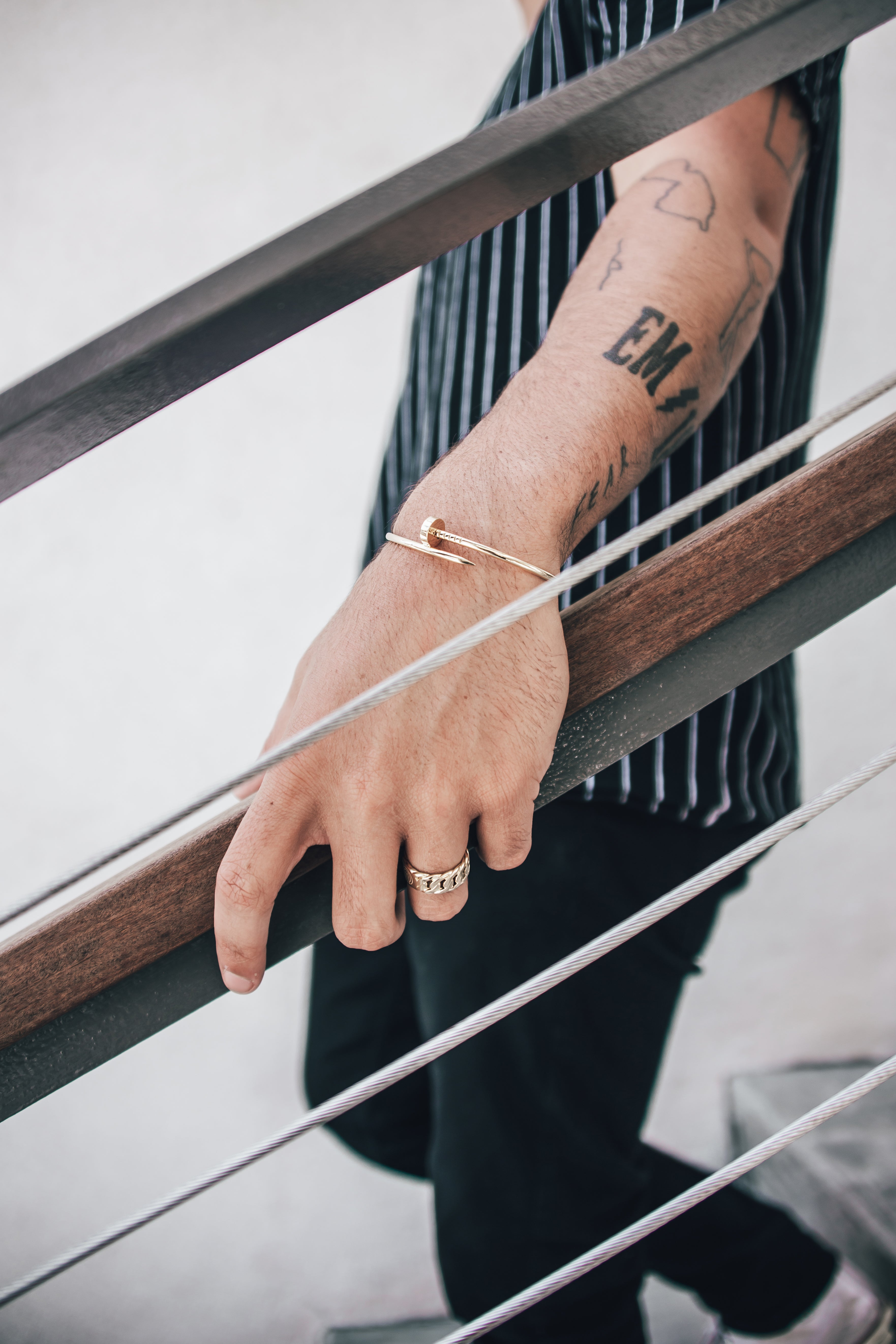 The W Brothers Custom Nail Bracelet hand-crafted in solid 14k & solid 18k Gold available for men and women luxury fashion. Complete your look with our Cartier inspired nail bracelet in real solid gold. Shop your gold jewelry options only at thewbros.com