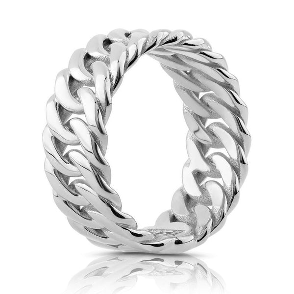 The W Brothers 925 Sterling Silver Miami Cuban Ring crafted to perfection for men and women fashion style for modern fashion. Style this gorgeous cuban look available in sterling silver available at thewbros.com