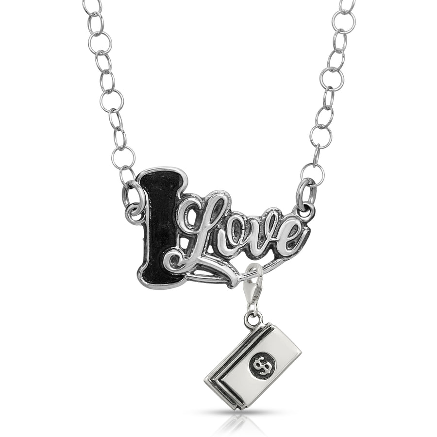 Silver necklace pendant with charm i love pendants women necklace chain customize by The W Brothers