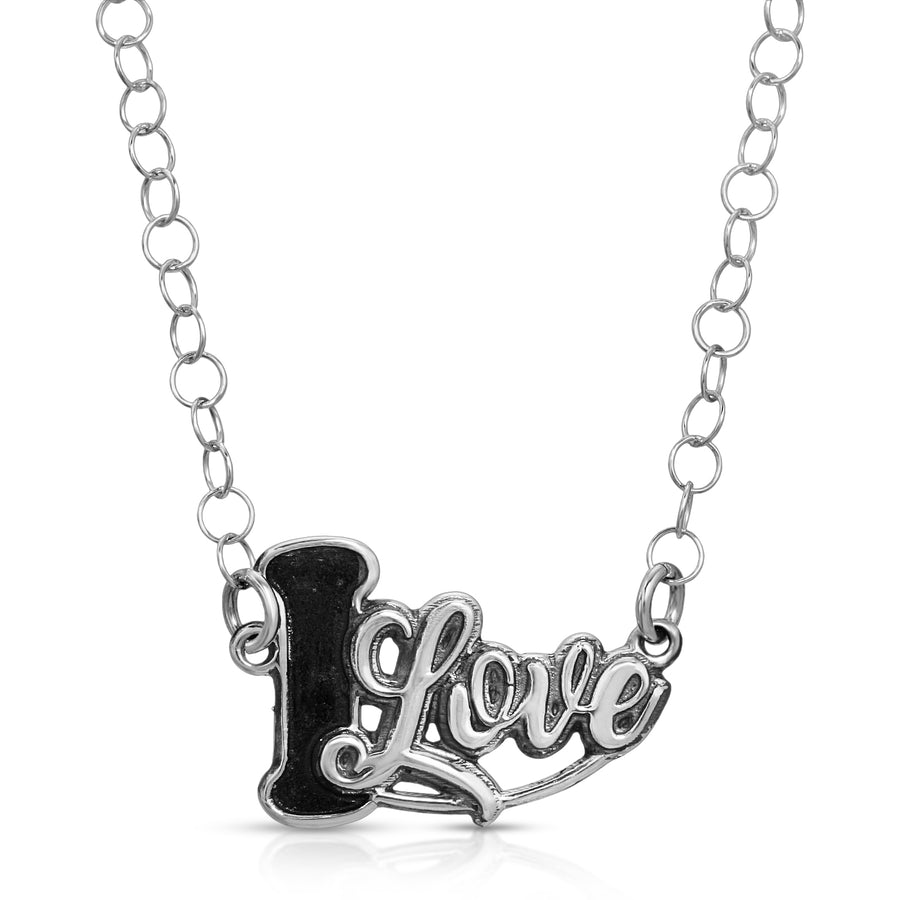 The W Brothers Social Media I LOVE Pendant Necklace made of 925 Sterling Silver