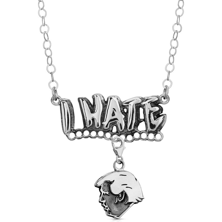 The W Brothers Social Media I HATE Pendant Necklace with charm made of 925 Sterling Silver