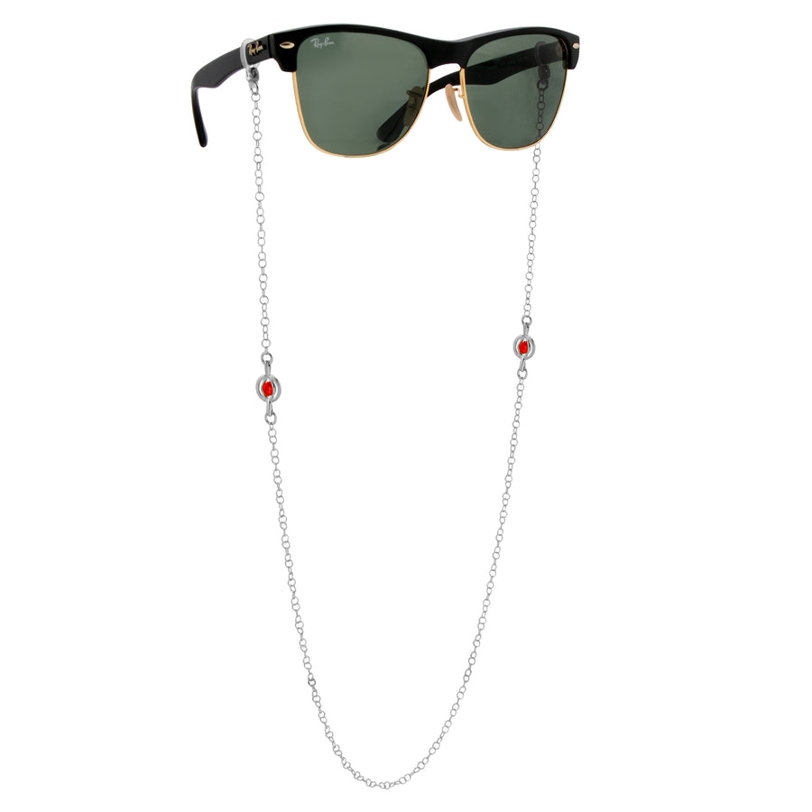The W Brothers Crystal Orb Glasses Chains with Red Swarovski Crystal in the center of the chain. Made from 925 Sterling Silver, available in Silver, Gold, and Rose Gold. Perfect for women and male for events and activities.