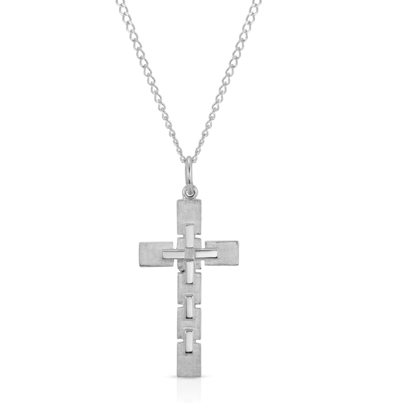 The W brothers Internal Cross from our cross collection crafted from the highest A grade 925 Sterling Silver pendant necklace. This cross has mini links at the top of the cross, showcasing a unique modern design fit for men and women. Shop here at www.thewbros.com