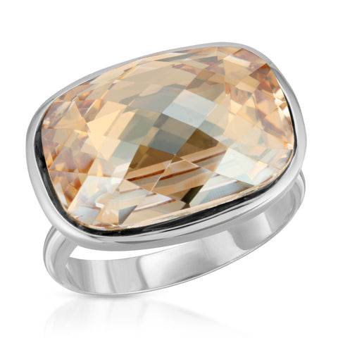 Topaz Cushion Crystal Ring