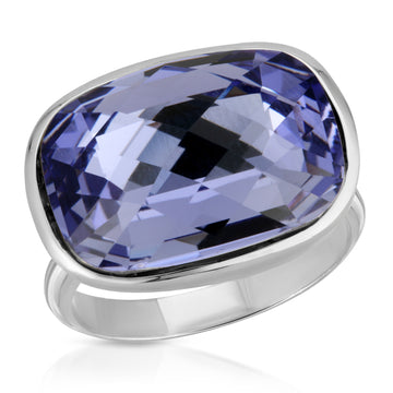 The W Brothers Tanzanite Swarovski Pillow Crystal Ring, crafted with 925 Sterling Silver, perfect for women's accessory, jewelry, fashion, and high-end ring.