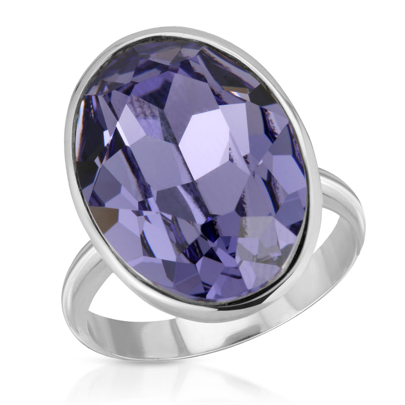 The W Brothers Premium Grade A 925 Sterling Silver Ecliptic Tanzanite Swarovski Ring, our tri-toned Amethyst Swarovski crystal element with our premium 925 Sterling Silver. Perfect for a fashionable statement for men and women's jewelry accessory. Available at www.thewbros.com