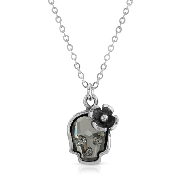 Chrome Black swarovski flower skull pendant necklace -thewbros thewbrothers, www.thewbros.com skull swarovski crystal collection, skull pendant necklace, skull crystal necklace pendant, swarovski crystal skulls elements fashion necklace, flower skull necklace, 925 sterling silver crown skull necklace, skull crystal floral flower necklace pendant unisex necklace pendant, chrome black crystal skull necklace thewbros
