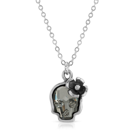 Clear Black Flower Skull Necklace