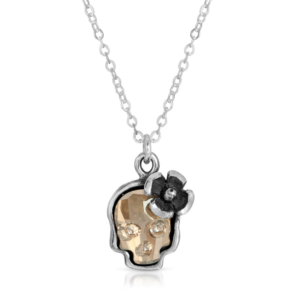 Clear Gold Flower Skull Necklace