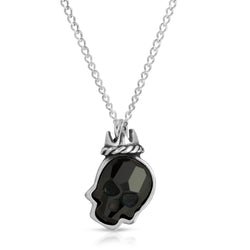 Jet Black Crown Skull crystal necklace pendant chain, swarovski jet black crystal necklace- the w brothers silver jewelry, thewbros swarovski jet black crystal necklace pendant, jet black crown skull necklace, crown skull crystal pendant necklace, onyx black crystal skull necklace pendant, thewbros crystal skull necklace collection