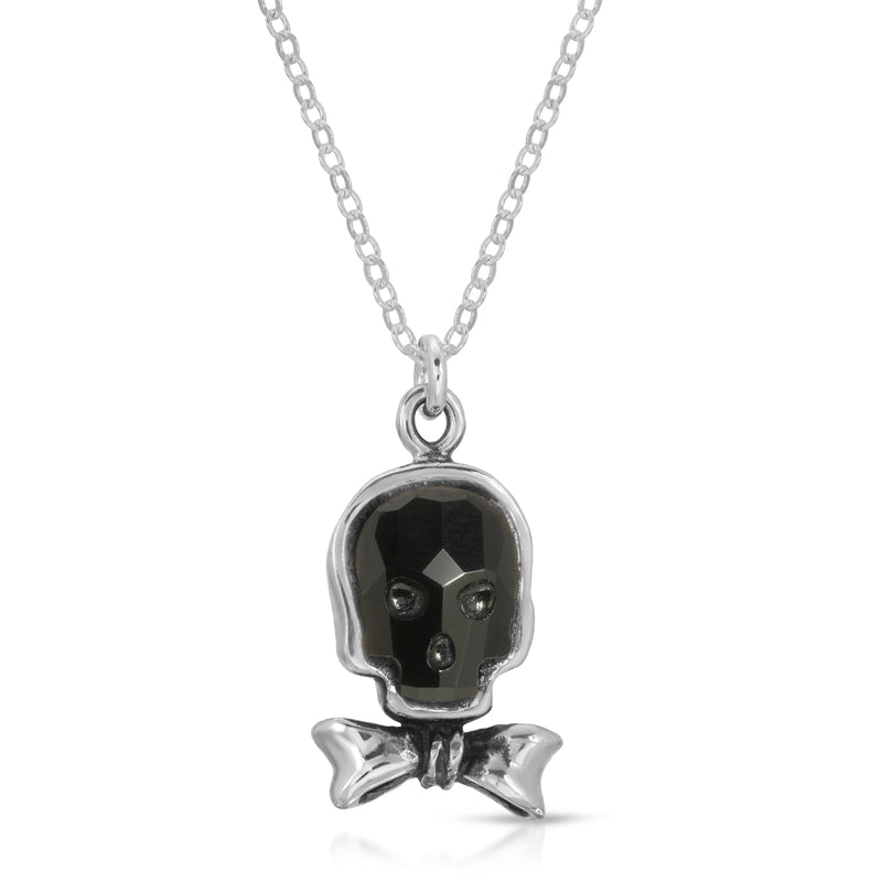 Jet Black Ribbon Swarovski skull pendant necklace -the w brother, thewbros swarovski skull necklace chain, black crystal skull necklace, black swarvoski skull crystal necklace collection by thewbros, Ribbon skull necklace, bow-tie skull necklace, bow-tie crystal swarovski skull silver necklace, 925 sterling silver skull necklace