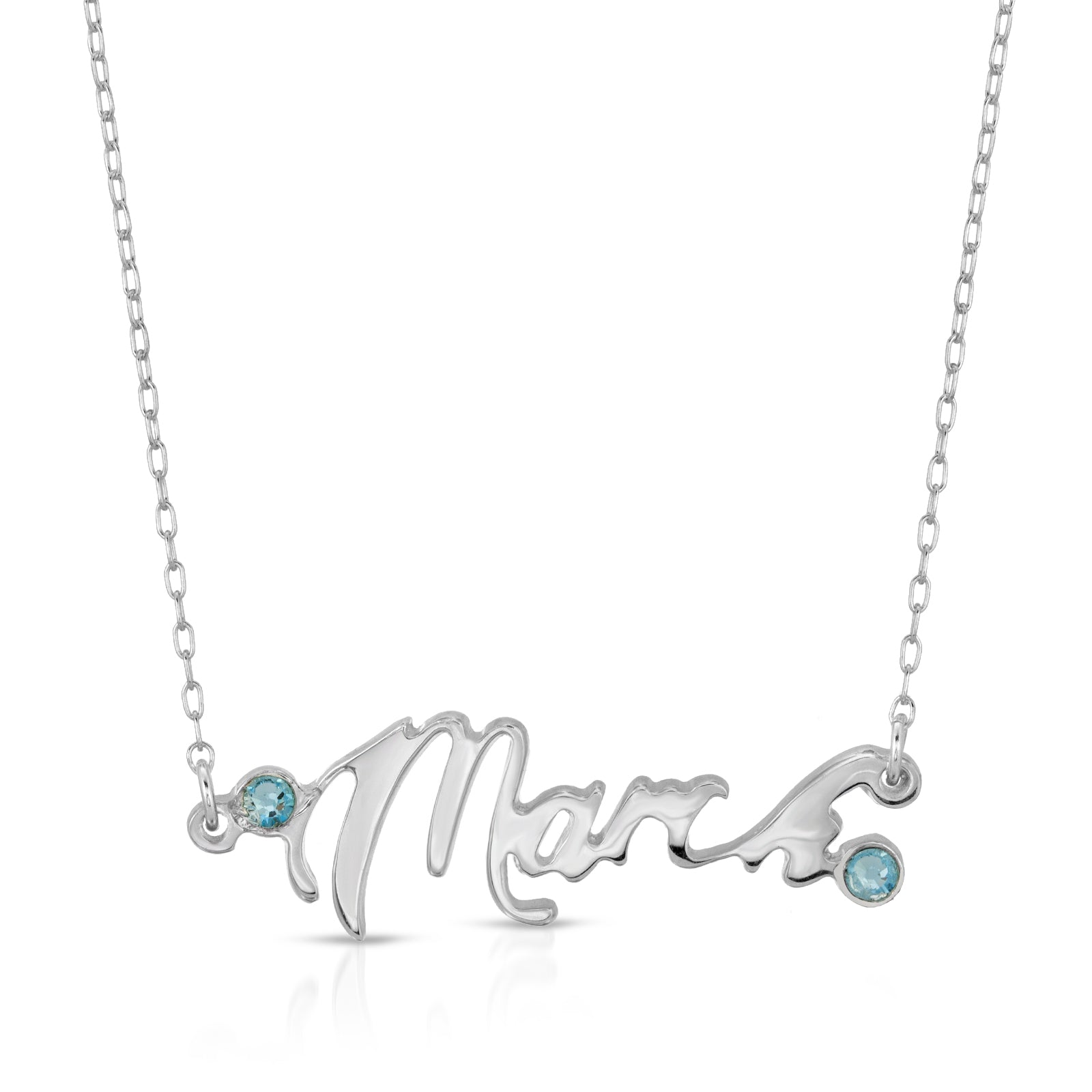 The W Brothers Month March Month Aquamarine Necklace Pendant fashionable for men and women's March Aquamarine crystal birthstone birthday necklace. Crafted from premium Grade A Sterling Silver for an elegant and modern jewelry accessory. Available at www.thewbros.com