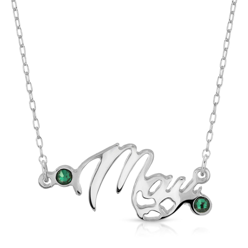 The W brothers Month Necklaces showcasing our May birthstone ring set with 2 Emerald Swarovski Crystals for an elegant look to a women and female's outfit. Crafted from premium Grade A 925 Sterling silver, perfect for a modern jewelry accessory. Available at www.thewbros.com