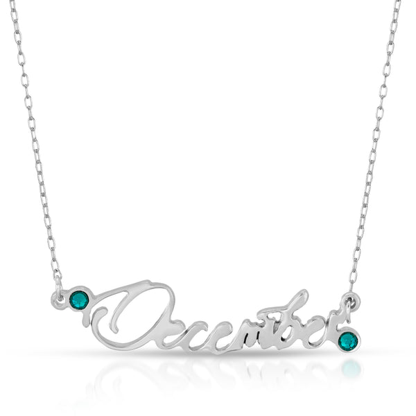 The W brothers Month Necklaces showcasing our December birthstone ring set with 2 Turquoise Swarovski Crystals for an elegant look to a women and female's outfit. Crafted from premium Grade A 925 Sterling silver, perfect for a modern jewelry accessory. Available at www.thewbros.com