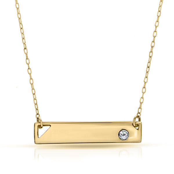 The W Brothers Premium Grade A 925 Sterling Silver Crystal Element Bar Necklace. Personalize your custom engraving name or message on a beautifully polished & cute piece. Perfect for a fashionable statement for men and women's jewelry accessory. Available in silver, gold and rose gold at www.thewbros.com