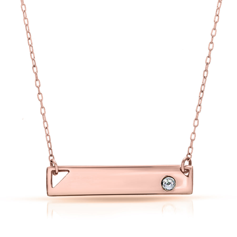 The W Brothers custom 14k rose gold bar necklace with crystal, customized rose gold bar necklaces, thewbros custom rose gold jewelry necklace, bar necklace with swarovski crystal, beautiful silver 14k rose gold customized jewelry necklaces, engrave bar necklace, custom engraved necklace, custom engraving necklace 14k rose gold jewelry