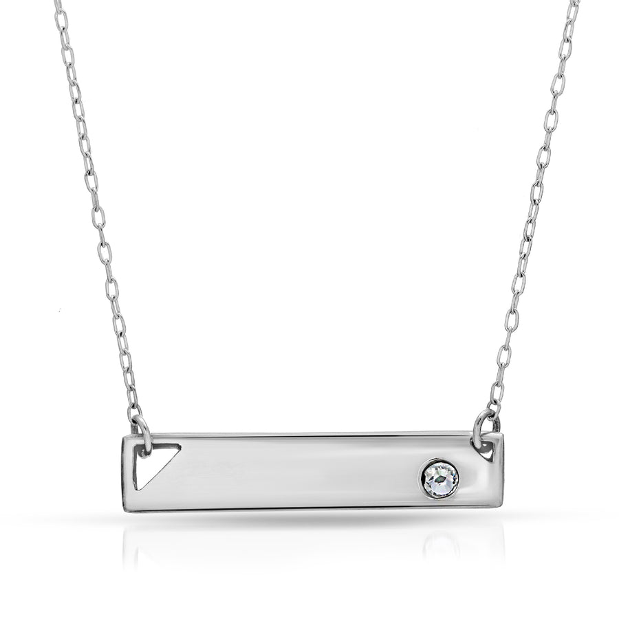 The W Brothers custom silver bar necklace with crystal, customized silver bar necklaces, thewbros custom silver jewelry necklace, bar necklace with swarovski crystal, beautiful silver customized jewelry necklaces, engrave bar necklace, custom engraved necklace, custom engraving necklace silver jewelry