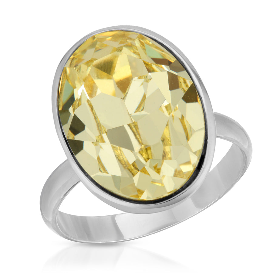 The W Brothers Ecliptic Swarovski Yellow Topaz 925 Sterling Silver Ring for women, perfect for a fashion statement or an elegant look.