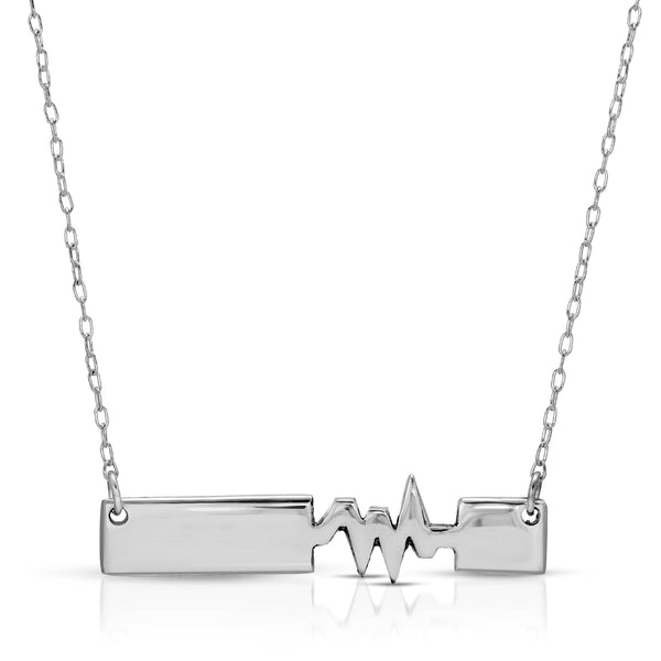 The W Brothers Premium Grade A 925 Sterling Silver Connected Heartbeat Necklace. Personalize your custom engraving name or message on a beautifully polished & cute piece. Perfect for a fashionable statement for men and women's jewelry accessory. Available in silver, gold and rose gold at www.thewbros.com