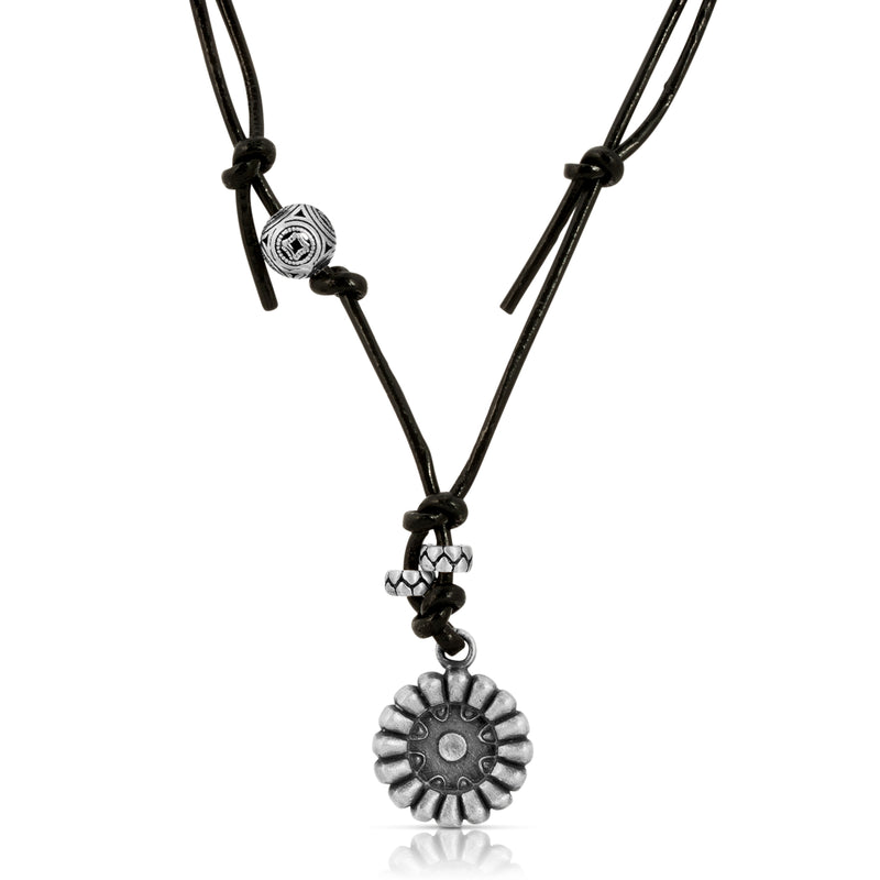 Sunflower Leather Necklace - The W Brothers