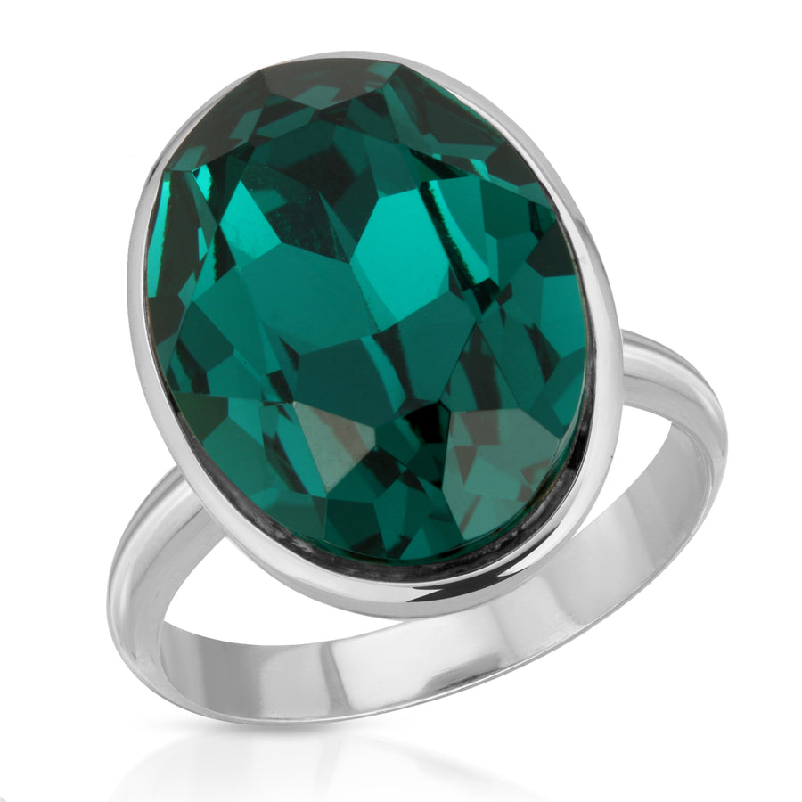 The W Brothers Emerald Ecliptic Swarovski Crystal Ring made from 925 Sterling Silver, perfect for women for a fashion statement or an elegant look.
