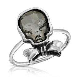 Clear Black Bowtie Skull Ring